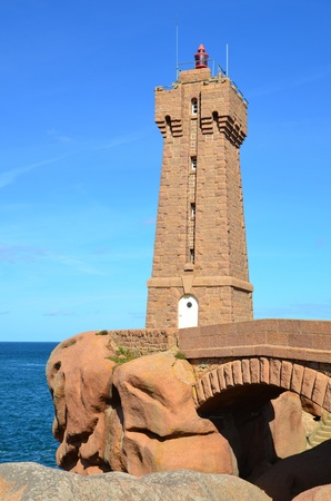 cote de granit rose: The lighthouse of Ploumanach, Cote de granit rose  in North Brittany, France
