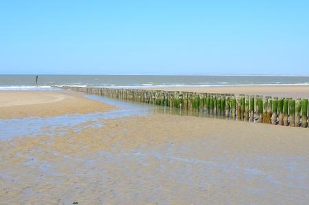 ゼーラント州の都市で木製の防波堤を有するビーチ 写真素材