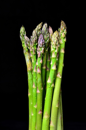 Green asparagus on black background photo