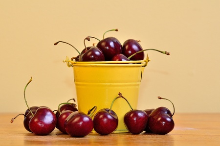 Gorguous red cherries in a little yellow bucket