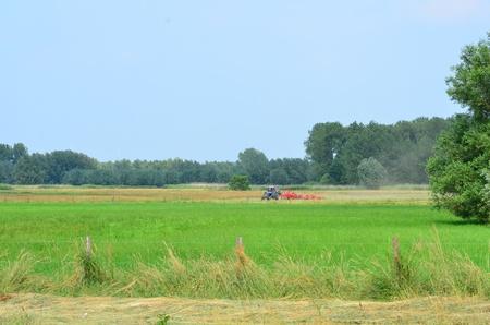 Haymaking tracktors in Flanders field in summer in the Scheldt valley Stock Photo - 21381020