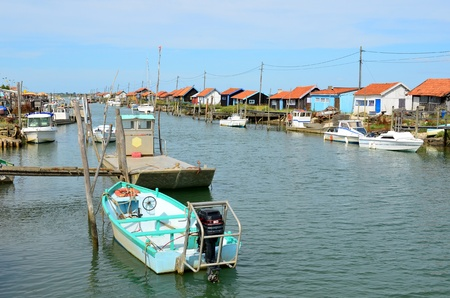 La Tremblade, site ostriecole,  Oyster farming harbour, Charente Maritime, France Stock Photo