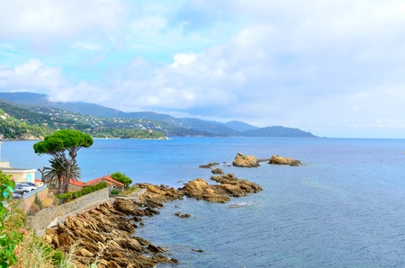 Coastline in le lavandou, path to the beach St Clair,  var cote d'azur provence, France