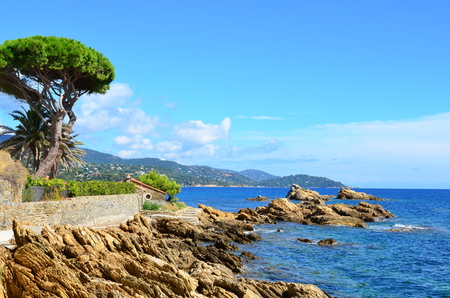 Coastline in le lavandou, path to the beach St Clair,  var cote dazur provence, France Stock Photo