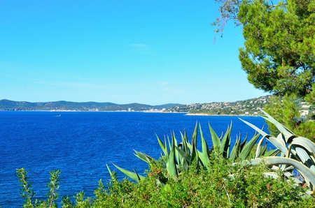 The Mediterranean Sea  in Le Lavandou, cote azur, var, provence, France
