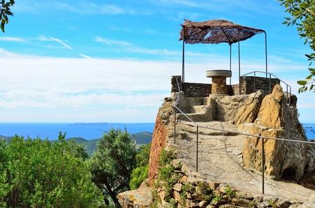 azur: Orientation table on top of  Bormes les Mimosas, Provence, Var, Cote azur, France