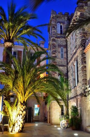 Village of Le Lavandou at night, palm trees and bureau of tourism,  cote azur, var, provence, France