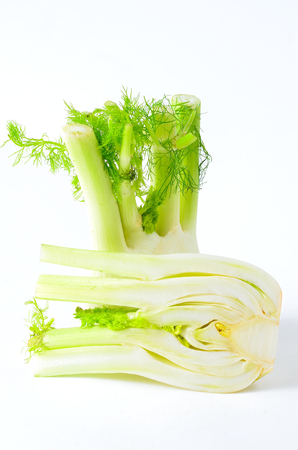 Fennel cutted on white
