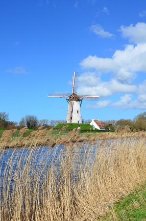 flanders: Old windmill in Damme, near Bruges,  Flanders, Belgium