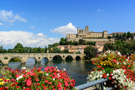 roussillon: Beziers Cathedral Saint-Nazaire and Pont Vieux languedoc roussillon  Herault France Stock Photo