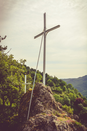cantal: cross on top of mountain in Auvergne, Cantal, France Stock Photo