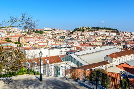 o jorge: city panorama on Alfama and Castelo de S�o Jorge Editorial