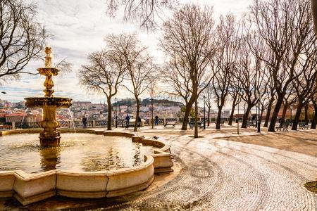 o jorge: Lisbon, Portugal - March 14 2015: square with  panorama on Alfama and Castelo de S�o Jorge Editorial