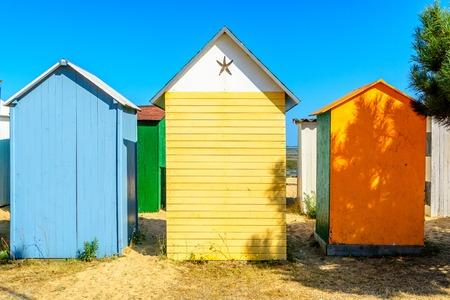 Beach cabines on ile d oleron, Charente Maritime, France