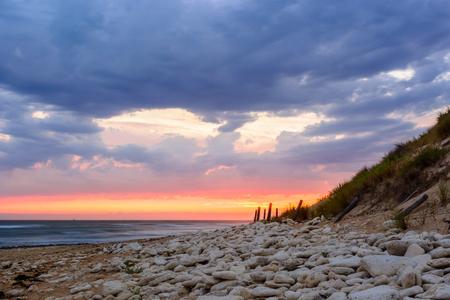 Ile dOleron,France sunset  on the beach,  Charente Maritime