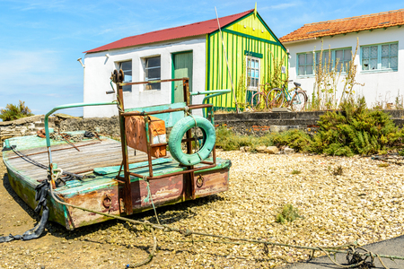 Oyster hut and boatd on Oleron island, Charente Martime, France Stock Photo
