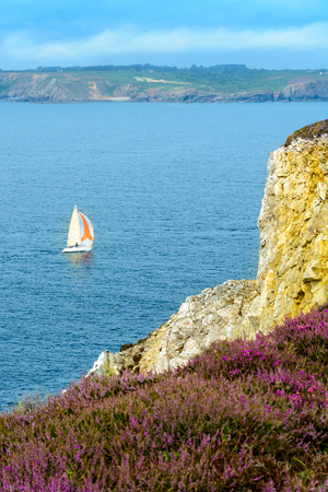 Sea at Camaret-sur-Mer, Presque ile de crozon, Brittany, France Stock Photo