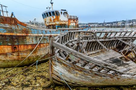 Ship graveyard, Camaret-sur-Mer, Departement Finistere, Brittany, France Stock Photo