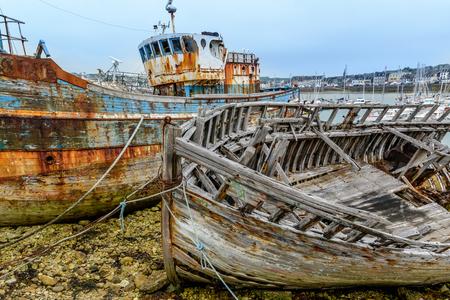 Ship graveyard, Camaret-sur-Mer, Departement Finistere, Brittany, France Stock Photo