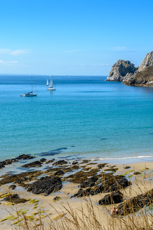 Sea at Camaret-sur-Mer, Sailing along the coast of Brittany, France
