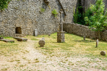 La Couvertoirade a Medieval fortified town in Aveyron, France Stock Photo