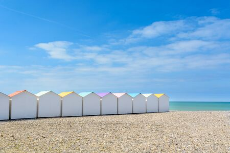 Beach cabins in Le Treport, Norhtsea coast. Stock Photo