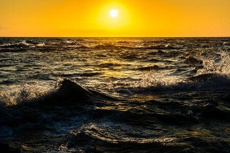 sea waves in evening sun, Point Saint Gildas, Brittany, France Stock Photo
