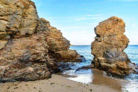 Rock on beach in Prefailles, Loire Atlantique, Brittany, France Stock Photo - 135875360