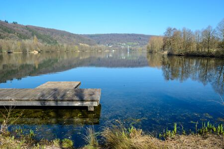 Lake at the entrance of the town Echternach in Luxembourg Stock Photo