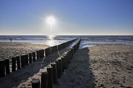Breakwaters on a sunny winter beach in Vlissingen Holland