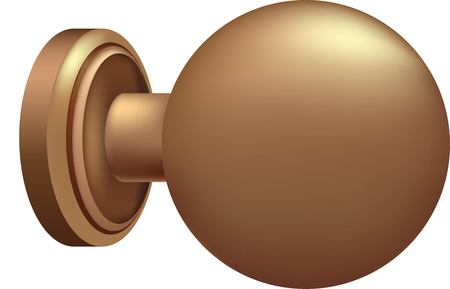 3D illustration of golden door knob.