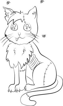 Zombie cat illustration. Ilustração