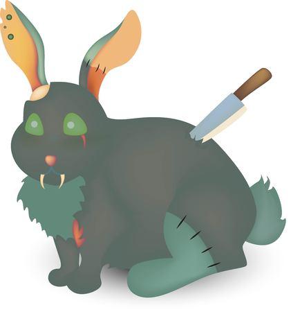 Zombie rabbit with knife on white background illustration. Ilustração