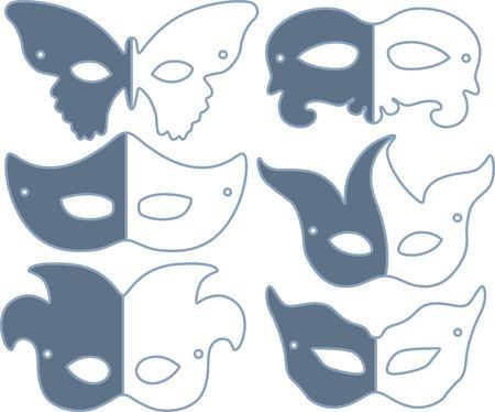 Carnival mask set on white background illustration.