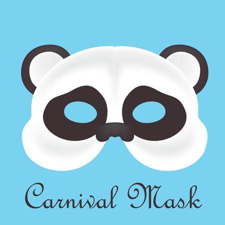 Carnival panda mask in blue background Ilustração