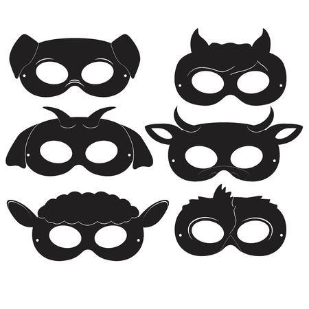 Black carnival mask set.
