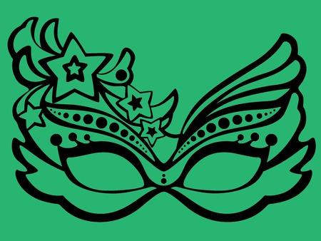 Carnival mask set on green background illustration.