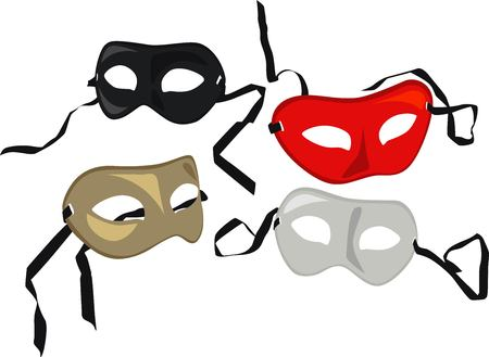 Colorful carnival mask set.
