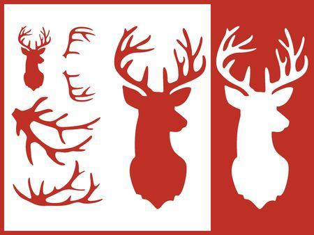 Set of deer stencils.