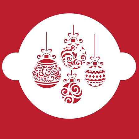 Christmas stencils in red background