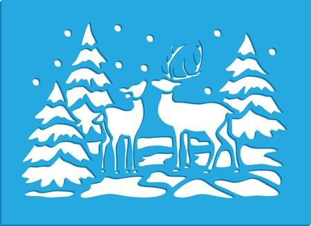 Two deer in a forest stencil illustration.