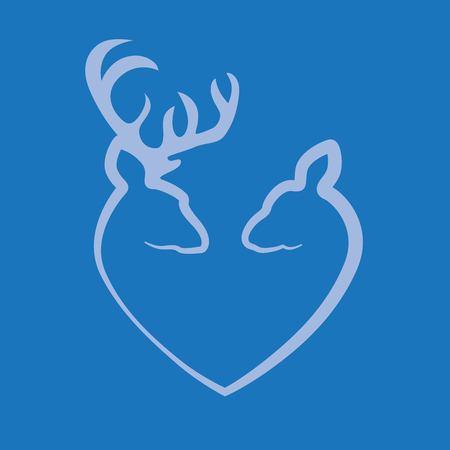 Deer abstract shape stencil illustration