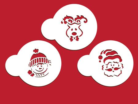 Christmas stencil with Santa Claus in white circle on red background illustration.