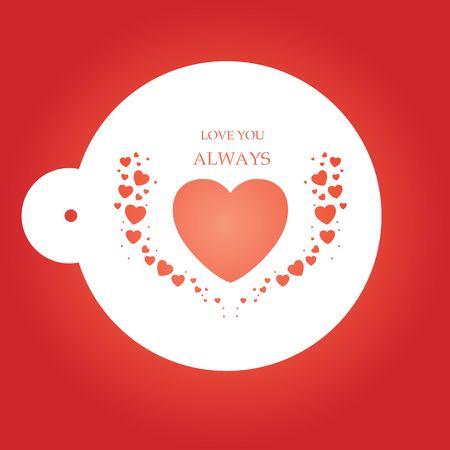 Love heart stencil in red background