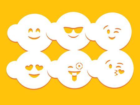 Different emotion stencils over yellow background Ilustração