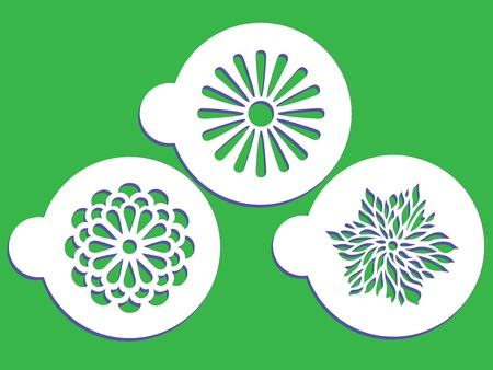 Spring stencils with flower in white circle on green background illustration.
