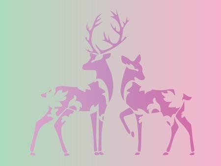 Deer couple illustration.