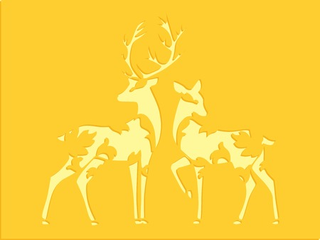 Deer couple stencil over yellow background