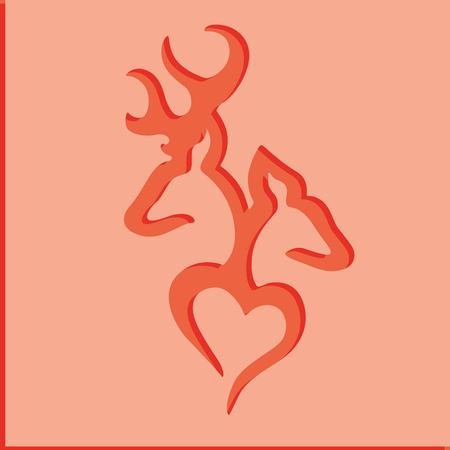 Deer couple over red background