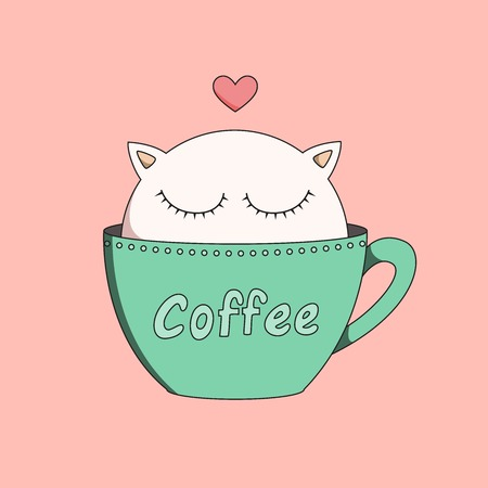 Cup of kitten isolated in background Ilustração